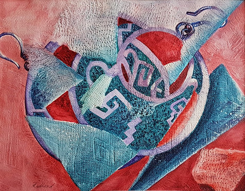 Earrings in Red and Blue - Helen Redhead Mayer