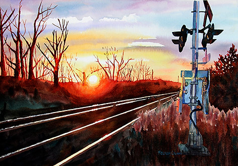 Sunset on The Tracks  - Melinda Calway