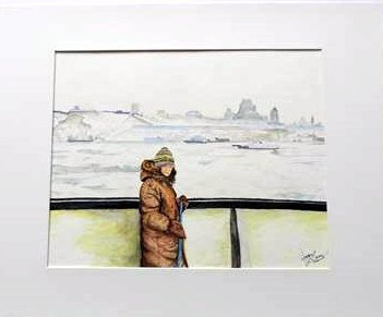 Lady on Ferry to Levee, Quebec - Wayne Lacey