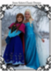 Elsa and Anna in their classic costumes