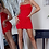 Thumbnail: Red Polka Dot Ruching Detail Bodycon Mini Dress