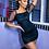 Thumbnail: Black  Polka Dot Sheer Puff Short Sleeve Bodycon Dress