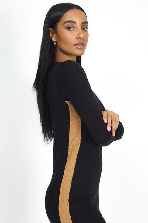 60s style Black & beige CREW NECK CONTRAST STRIPE KNITTE DRESS