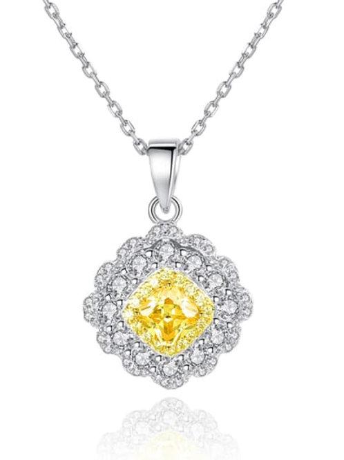 silver 925 square yellow/white zircon pendant & chain