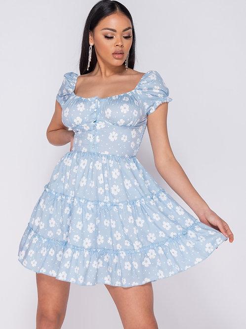 Pale blue Daisy Floral Frill Detail Button Up Front Mini Dress