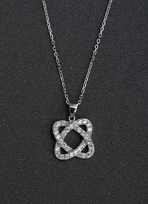 Silver 925 Mirco inlay zircon square-shaped pendant & chain