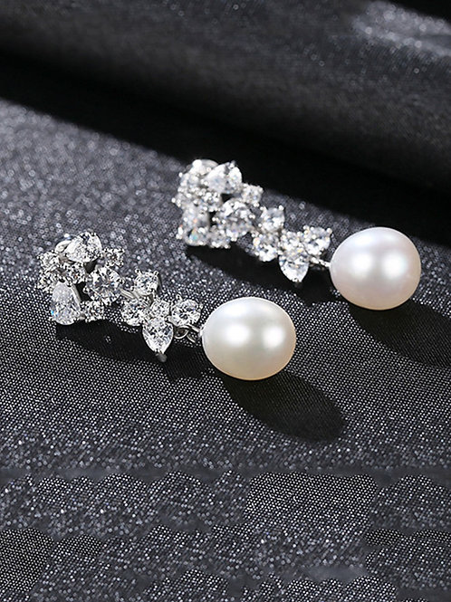 Silver 925 white pearl & zircon platinum plated earrings