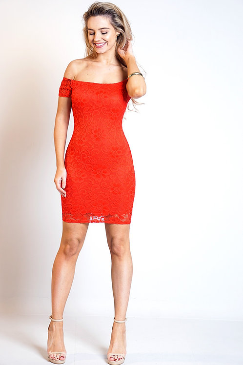Red lace Bardot off shoulder dress