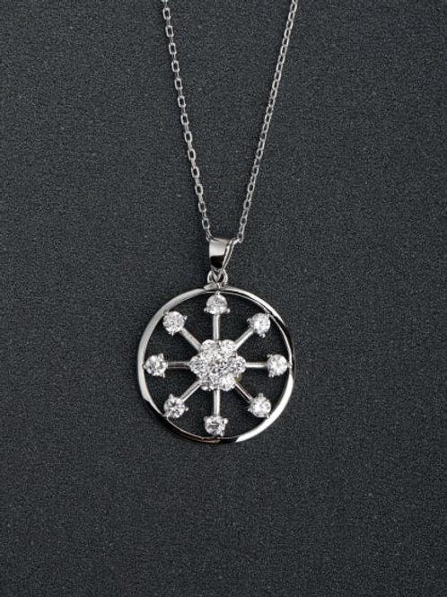 Silver 925 hearts & arrows inlaid zircon pendant & chai