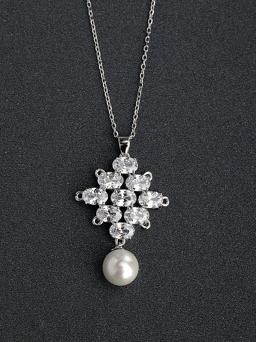 Silver 925 Imitation pearl & white cubic zircon pendant & chain