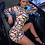 Thumbnail: & Mocha & Black Abstract print long sleeved mesh dress