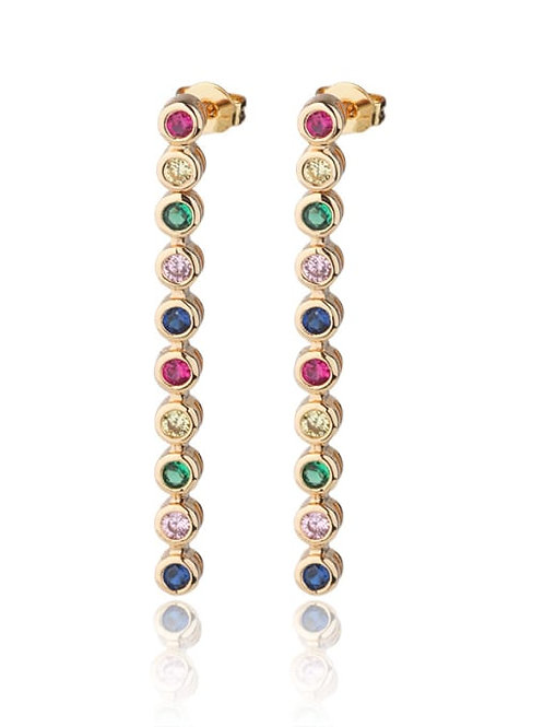 Multicolour Copper With Cubic Zirconia Round long drop  stud earrings