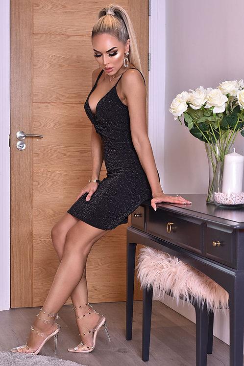 Black Lurex Twisted Knot Dress strappy dress