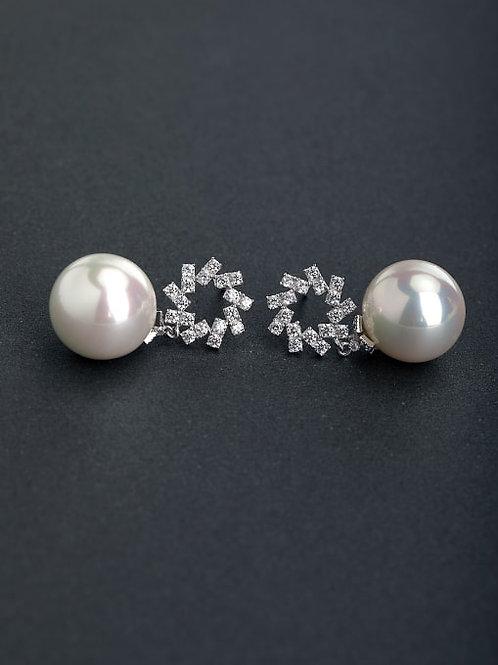 Silver 925 micro inlay rhinestone circular pearl stud earrings