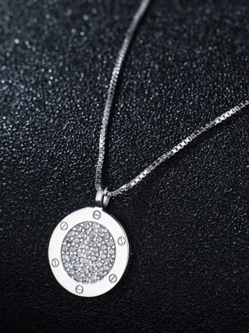 Sterling Silver 925 Cubic Zirconia Round Pendant & Chain