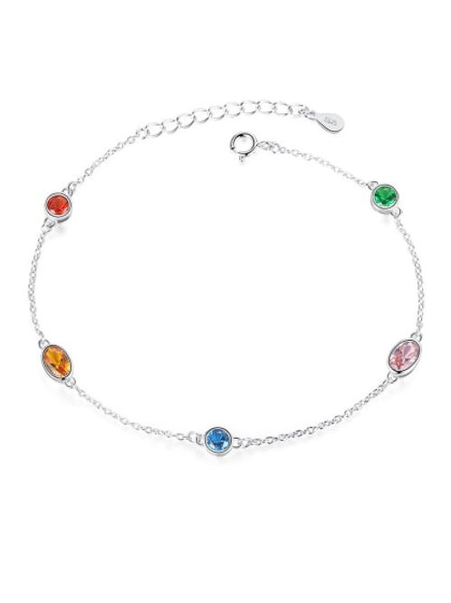 Silver 925 Multicolour crystal stone bracelet