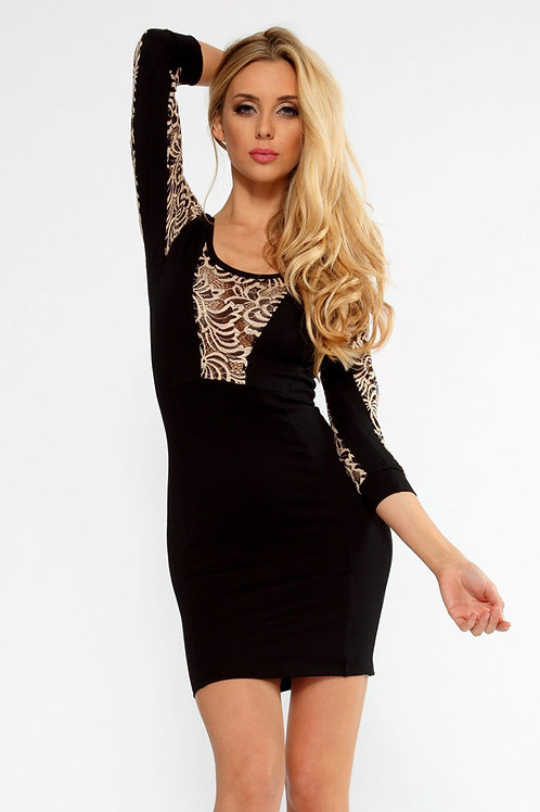 VIP designer Black 3/4 sleeve with a gold lace insert mini dress