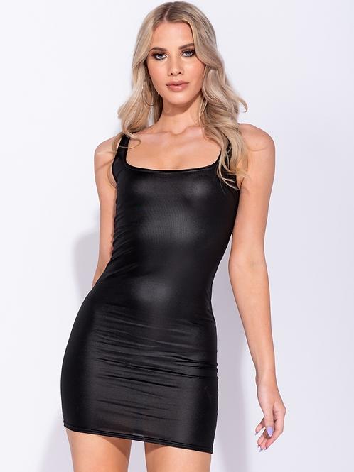 Black Wetlook Scoop Neck Bodycon Dress