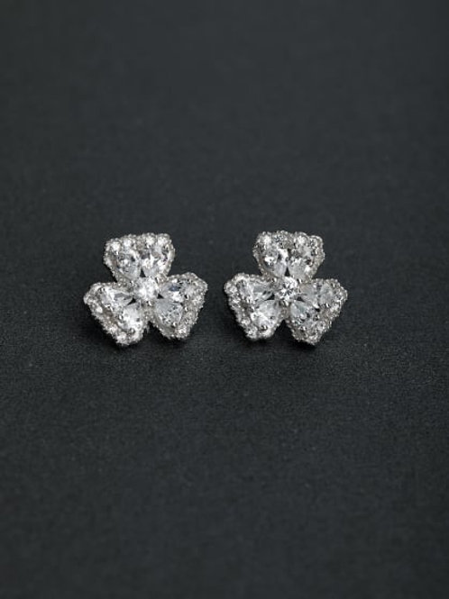 Silver 925 flower stud earrings