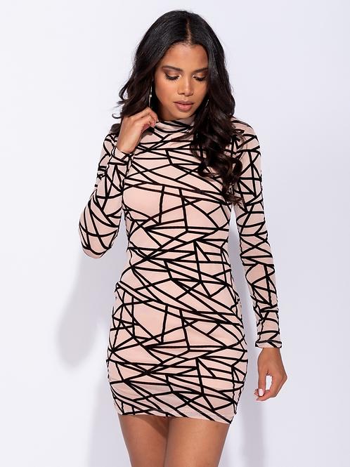 & Mocha & Black Abstract print long sleeved mesh dress