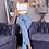 Thumbnail: Light blue Side Slit Detail High Waist Flared Jeans