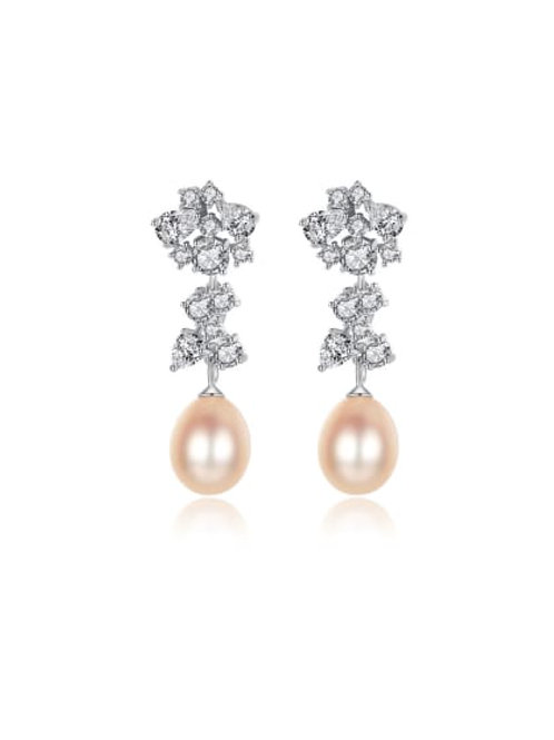 Silver 925 Pink pearl & zircon drop earrings