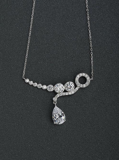 Silver 925 White zircon stone droplets pendant & chain