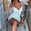 Thumbnail: Mint Tie Up Detail Long Sheer Sleeve Bodycon Mini Dress