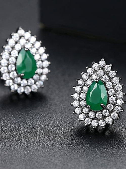 Silver-plated Copper inlay green & white AAA zircon drop shape multicolour earri