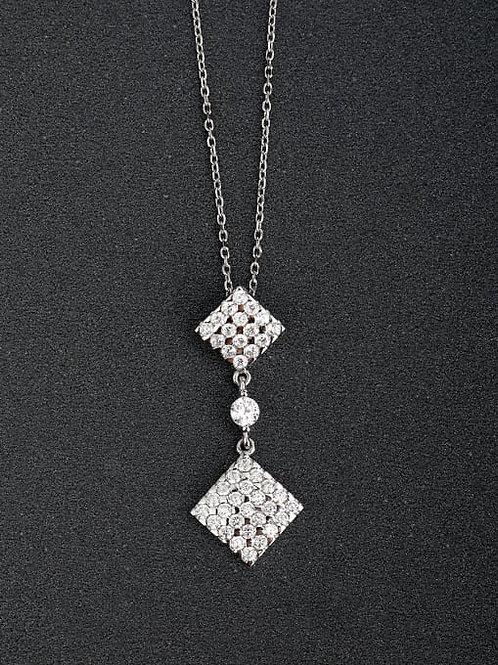 Silver 925 micro inlay zircon square pendant & chain