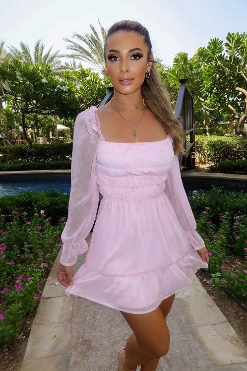 Pink Shirred Balloon Sleeve Frill Hem Dress