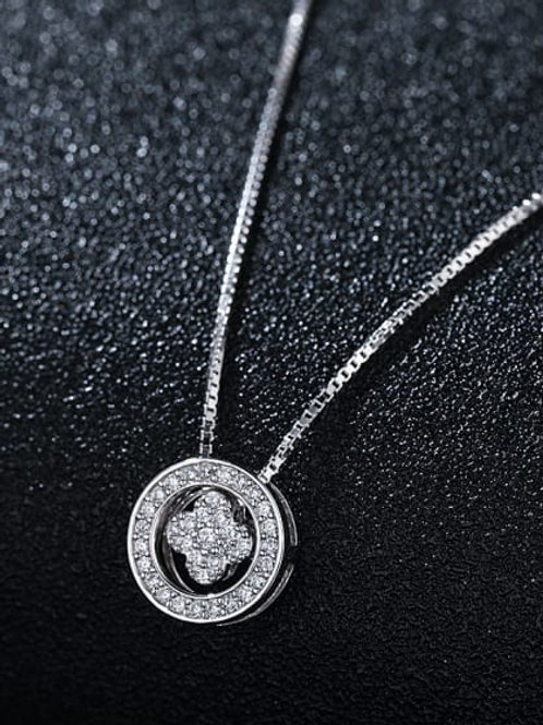 Silver 925 round floating flower pendant and chain
