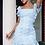 Thumbnail: ViP Pale Blue Dobby Short Sleeve Frill Hem Mini Dress