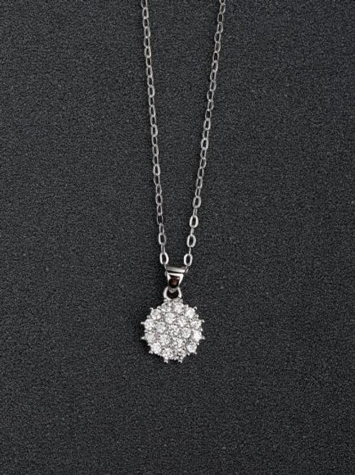 silver 925 round daisy zircon cluster pendant & chain