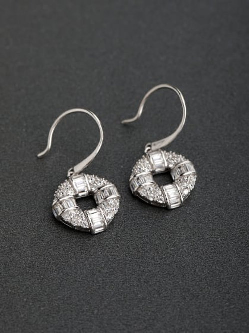 silver 925 polo shaped sparkling round zircon earrings