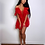 Thumbnail: Red Sheer Mesh Tie Front Ruffle Detail Cold Shoulder Mini Dress