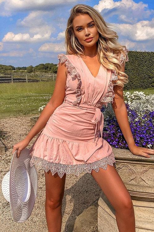Pink Lace Trim Frill Hem Self Belt Mini Dress