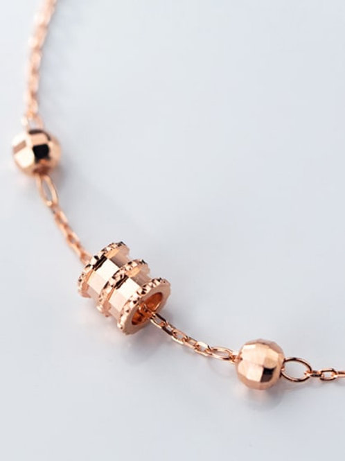 silver 925 rose gold plated delicate bracelet with beads and ring bracelet
