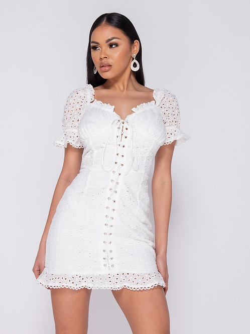 White Broderie Anglaise Lace Up Front Puff Sleeve Mini Dress