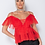 Thumbnail: Red Sheer Mesh Tie Front Ruffle Detail Cold Shoulder Top