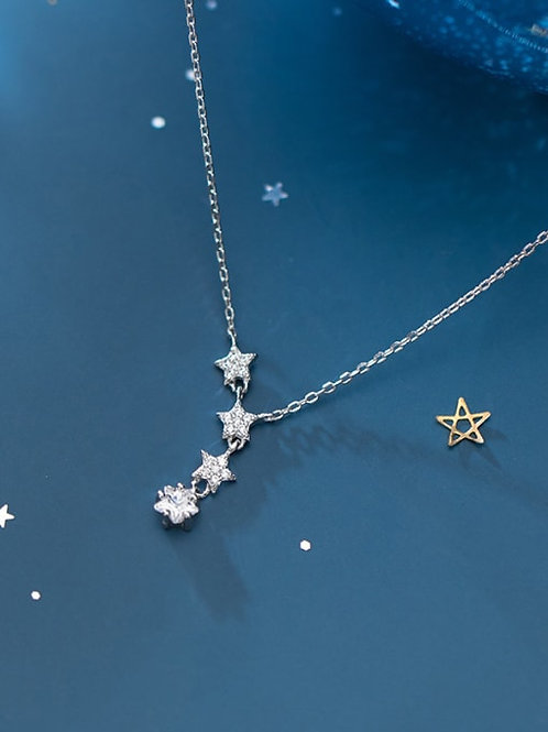 925 sterling silver Star with platinum plated pendant and chain