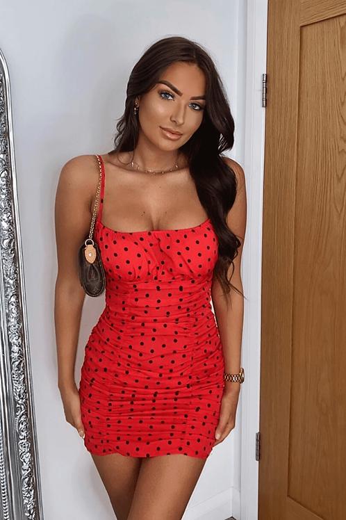 Red Polka Dot Ruching Detail Bodycon Mini Dress
