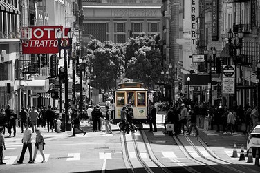 Cable cars in Union Square - a great way