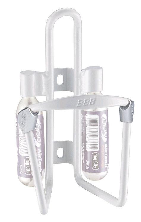 Παγουροθήκη ποδηλάτου με 2 υποδοχές για αμπούλα CO2, BBB, λευκό