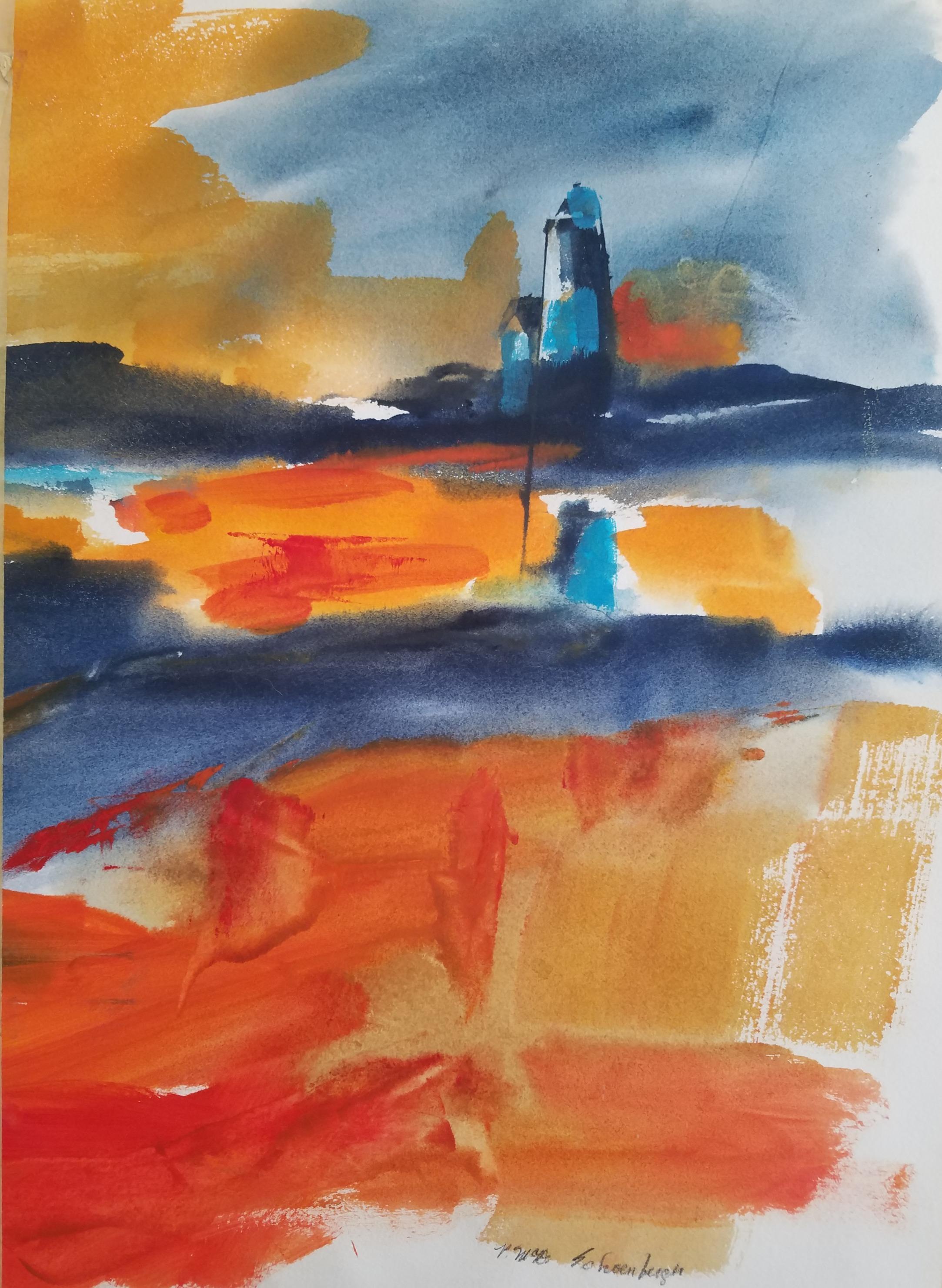 Lighthouse Ablaze at Sunset