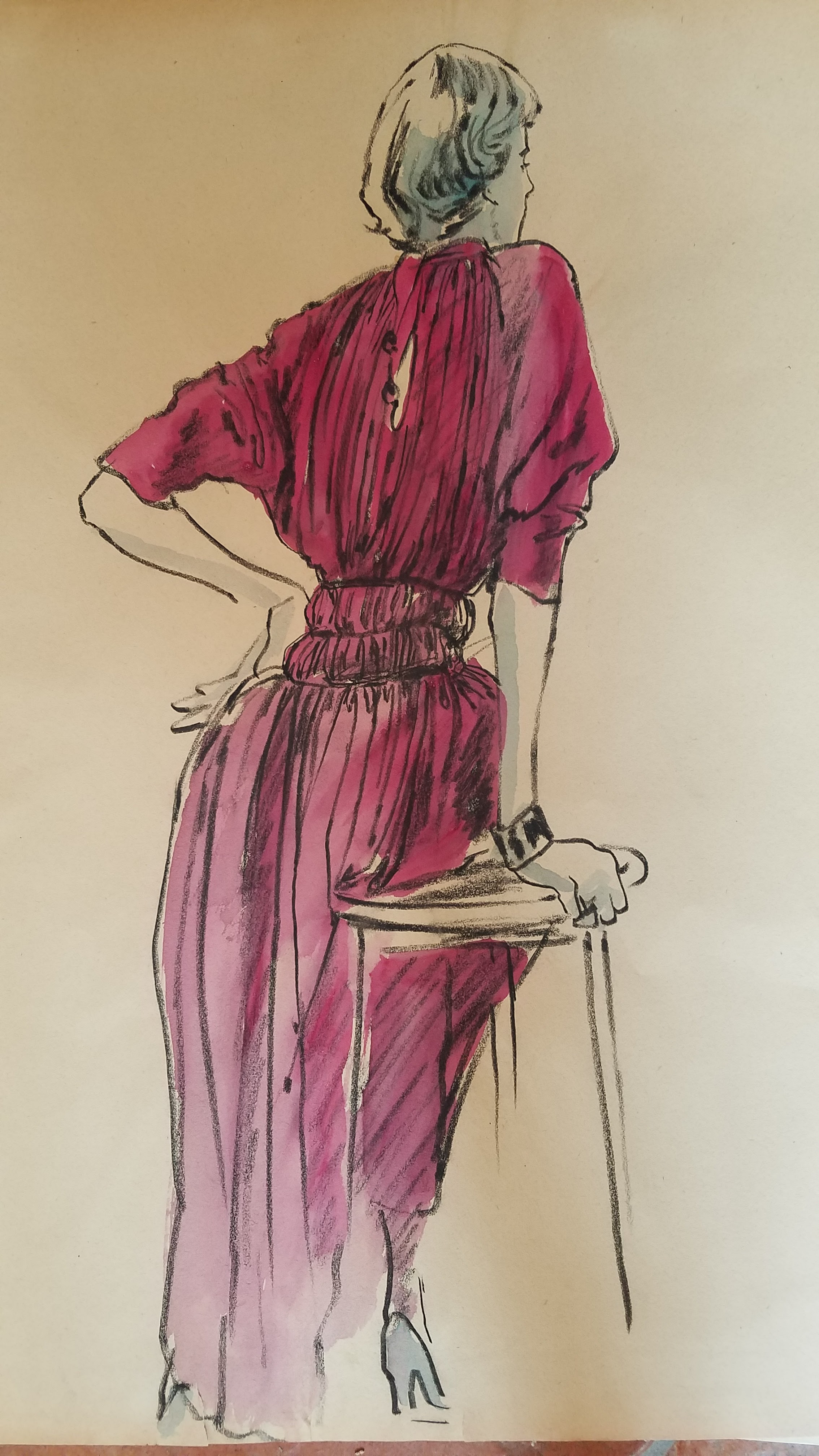 Pleated Garnet skirt with cinched waste