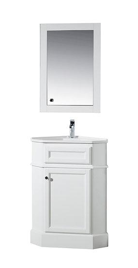 """Hampton White 27"""" Corner Vanity with Medicine Cabinet"""