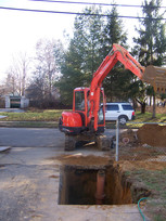 Sewer line excavation