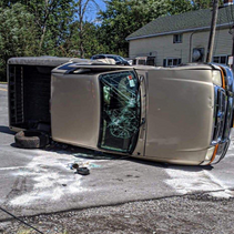 Alden - Millgrove Firefighters Work Afternoon Accident Involving Rolled Over Vehicle.
