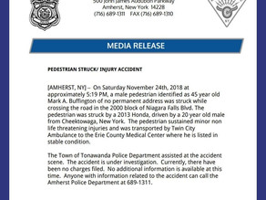 AMHERST POLICE MEDIA RELEASE.  Pedestrian Injury accident.